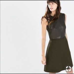 Zara Black Faux Leather and Wool Dress